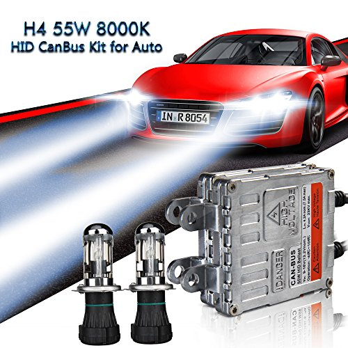 EASY EAGLE H4 Xenon HID Canbus Kit Senza Errori Decodifica Ballast 55W 8000K Faro alto/basso Lampada Luce Con controllo
