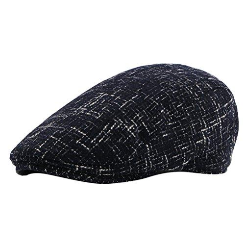 Zhhlinyuan Adjustable Newsboy Driving Beret Hat Vintage Gift Herren Thicker Woolen Warm Flat Beanie Cap -