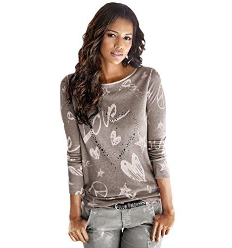 WanYang Coton Tricoté à Manches Longues Impression Tops Blouse Pull Sweatshirt T-shirt Café