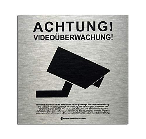 Aluminium Video (DSGVO+BDSG Datenschutz-Schild ALU-Info-Aushang Video-Überwachung 15x15cm Aluminium gebürstet)
