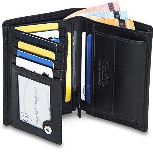 GenTo® Herren Geldbörse Dublin mit Münzfach - TÜV geprüfter RFID NFC Schutz - Geräumiger Geldbeutel im Hochformat - Inklusive Geschenkbox - erhältlich in 5 Farben | Design Germany (Schwarz - Glatt)