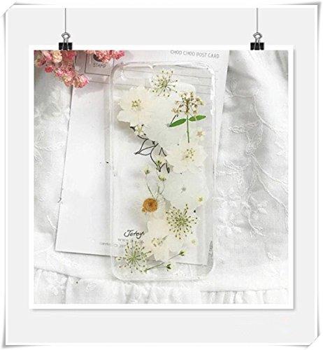 Heng Yuan Schutzhülle für iPhone 5 / SE / 5S, Motiv Larkspur mit echten gepressten getrockneten Blumen, Weiß (Getrockneten Gepressten Blumen)
