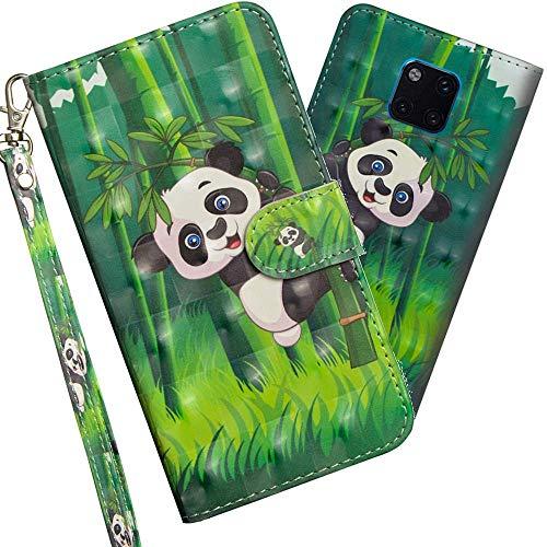 COTDINFOR Huawei Mate 20 Pro Hülle 3D-Effekt Painted cool Schutzhülle PU Leder Flip Bookcase Handy Tasche Schale mit Magnet Standfunktion Etui für Huawei Mate 20 Pro Climbing Bamboo Panda YX.