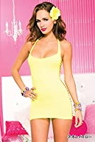 Music Legs Yellow Cut Away Mini Dress
