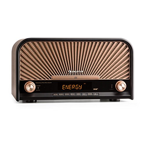 auna Glastonbury • Retro Stereoanlage • DAB Plus Radio • Bluetooth • CD- / MP3-Player • Radio-Wecker • Sleep-Timer • Stereo-Lautsprecher • MP3-fähiger USB-Port • AUX-Anschluss • Fernbedienung • braun
