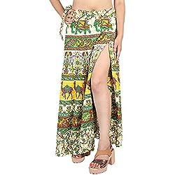 SKAVIJ Falda Maxi de la Impresión étnica del Algodón de Las Mujeres envolvió el Vestido de la Cubierta de la Playa
