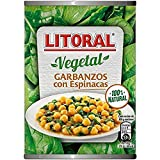 LITORAL Vegetal Garbanzos con Espinacas - Plato Preparado Sin Gluten - Paquete de 10x425g - Total: 4.25kg