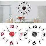 Rishil World Acrylic 3D Numbers Mirror Sticker Wall Clock Modern Art Decal Home Room Decor