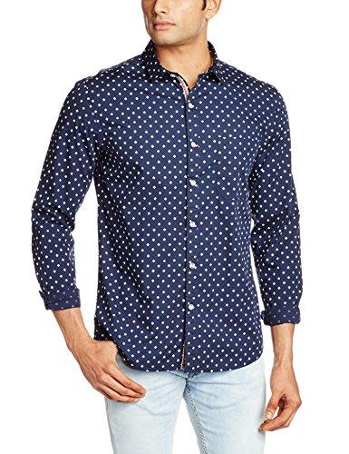 John Miller Men's Casual Shirt (8907130945084_1Vs02912_40_ Blue )