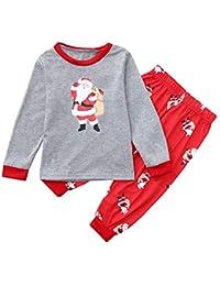 FRAUIT Familia Papá Noel Camiseta Gris Rojos Familia Pijamas Ropa de Dormir Trajes de Navidad Familiares Ropa de Dormir Traje a Juego de Navidad Mujer Hombre Bebé Niño Niña de Pijamas