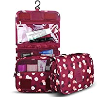 Portable Travel Toiletry Bag with Hanging Hook, Organizer for Women & Men Shaving Kit, Foldable Multifunction Waterproof Cosmetic Makeup Pouch w/ Velcro for Travel Accessories Storage - Daisy Winered
