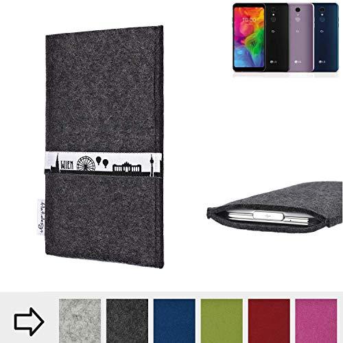 flat.design für LG Electronics Q7 Alfa Schutztasche Handy Hülle Skyline mit Webband Wien - Maßanfertigung der Schutzhülle Handy Tasche aus 100% Wollfilz (anthrazit) für LG Electronics Q7 Alfa