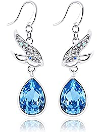 Yellow Chimes Crystals from Swarovski Flying Birds Blue Crystal Earrings For Women and Girls