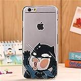 NightKid Ultra delgado transparente cara de dibujos animados dibujos animados Batman divertido funda (iPhone 6 iPhone 6 Plus iPhone 5C iPhone 5/5S iPhone 4/4S )(iPhone 6S/4.7,Negro)