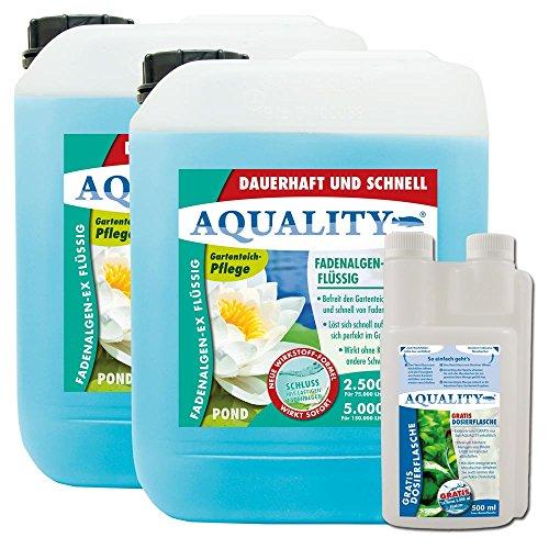 AQUALITY Fadenalgen-EX Flüssig für Ihren Gartenteich 10 Liter (Flüssiger Fadenalgenvernichter, Algenmittel und Algenentferner. Jetzt noch bessere Wirkung. Löst Sich sehr schnell im Teich auf)