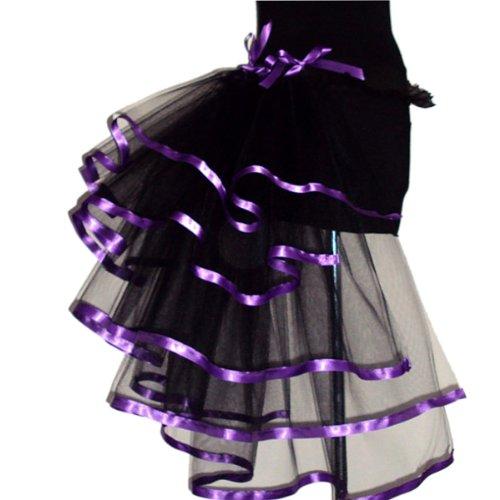 1980s 80s 5strati Tiered Punk Moulin Rouge Vintage rara Raver Clubbing nastro cintura Ruffle metà Burlesque trambusto Cocktail Party Costume di Carnevale di Tulle Tutu coda vestito gonna, sottogonna sottogonna Pettiskirt W/Ribbon Trim taglia unica nero Purple taglia unica