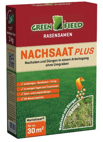 Greenfield 62561 Nachsaat Plus Rasensamen Rasensaat 1 kg für ca. 30 qm