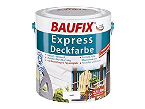 Baufix express deckfarbe blanc intérieur et extérieur pour le bois, plâtre, maçonnerie, etc.