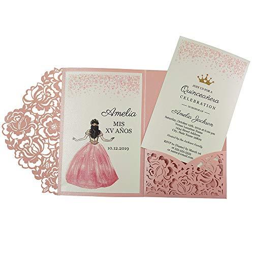 Doris Home CW0008P Hochzeitseinladungen mit Umschlägen, für Hochzeitseinladungen, Abendessen, Rosa, 50 Stück Blank-1PC rose