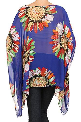 Kimono Bluse Abend-Bluse Tunika Shirt Sommerbluse Überwurf Stola Chiffon in vielen bunten Farben - One Size, auch für große Größen von Nachtigall+Lerche Fuchsia-A67