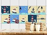 GRAZDesign 770360_15x15_FS10st Fliesenaufkleber Bad - Fliesen zum Aufkleben | maritim mit Leuchtturm und Anker | Fliesen mit Fliesenbildern überkleben | 10 Motive | selbstklebende Folie (15x15cm // Set 10 Stück)