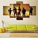 Moderne Wohnkultur Rahmen Leinwand Bilder drucken Poster 5 Stück Silhouette von Soldaten mit amerikanischen Flagge Malerei Wand Kunst, 40 x 60 40 x 80 40 x 100 cm, Rahmen