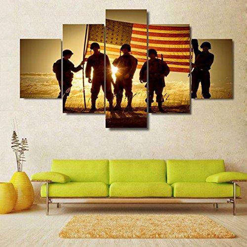 Moderne Wohnkultur Rahmen Leinwand Bilder drucken Poster 5 Stück Silhouette von Soldaten mit amerikanischen Flagge Malerei Wand Kunst, 20 x 35 20 x 45 20 x 55 cm, Rahmen (Amerikanische Flagge Wand Poster)