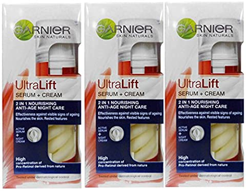 3 x 50ml Garnier UltraLift Swirl 2 in 1 Serum + Cream Anti-Wrinkle NIGHT CREAM