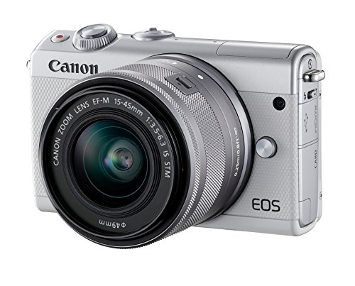 Canon EOS M100 Systemkamera (24,2MP, 7,5 cm (3 Zoll) Display, WLAN, NFC, Bluethooth, Full HD) Double Zoom Kit mit EF-M 15-45 mm f/3.5-6.3 IS STM und EF-M 55-200 mm f/4.5-6.3 IS STM weiß (Canon Eos Zoom)