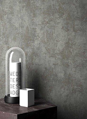 NEWROOM Barocktapete Tapete Grau Putz Beton Uni Vliestapete Platin Vlies moderne Design Optik...