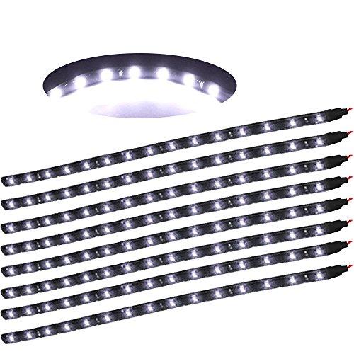 XINBAN LED Neonlichter Streifen Auto 8x 30cm 15SMD LED Auto Innenbeleuchtung Streifen Strip Leiste Lichterkette Wasserdicht 12V [Energieklasse A+] (Weiß)