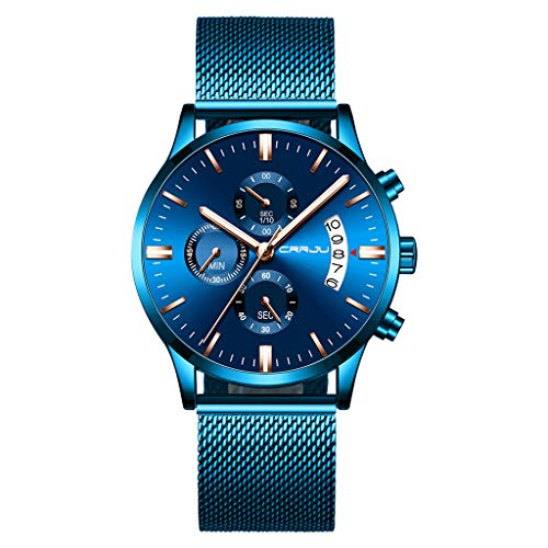 Huacat Herrenuhr Einfacher Edelstahl Mit Herren Quarzuhr Paris Herren-Armbanduhr Quartz Braunem Leder Armband Herrenuhren