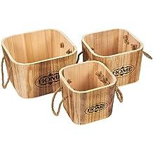 Secchi–Set pezzi–casse in legno rustico in legno con manici in corda–cassette in legno–varie misure, quadrato, marrone