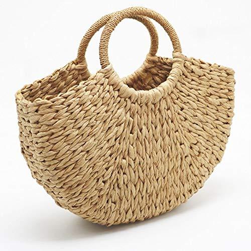 CBSTBLLL Handgemachte Strandtasche Runde Stroh Totes Bag große Eimer Taschen Frauen natürliche Korb Handtasche -