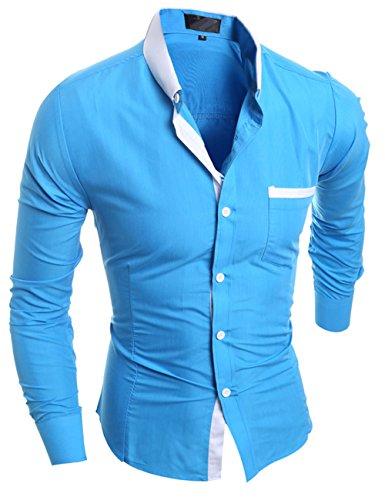Glestore camia da uomo tina unita business casual Blu
