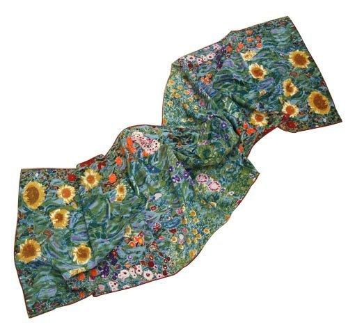Prettystern – 160cm langer Seidenschal, Kunstdruck Gustav Klimt, Seide