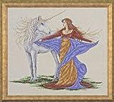 Design Works - Patrón para cuadro de punto de cruz, diseño de mujer con unicornio