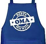 Shirtstreet24, Beste Oma der Welt Stempel, Muttertag Grill Schürze Kochschürze Latzschürze, Größe: onesize,Royal Blau