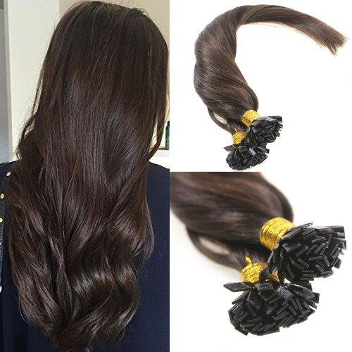 Sunny Flat Tip Echthaar Extensions mit Keratin Bondings PreBonded Extensions 50*1g Glatt Fusion Human Hair 22Zoll/55cm (Echthaar Extensions Fusion)