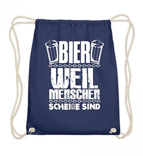 SwayShirt Hochwertige Baumwoll Gymsac - Bier weil Menschen scheiße sind! Lustiges Biergeschenk Männergeschenk T-shirt für Herren