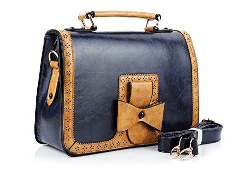 Whoinshop Damen Vintage Tasche Umhängetasche Schultaschen Kunstleder Schultertasche (Blau)