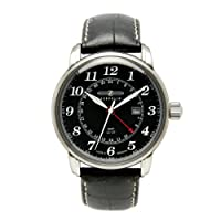 Reloj de caballero Zeppelin 76422 de cuarzo, correa de piel color negro de Zeppelin