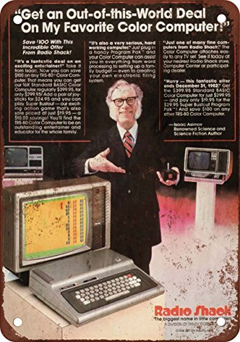 1982-isaac-asimov-for-radio-shack-trs-80-vintage-look-reproduction-metal-tin-sign-8x12-inches