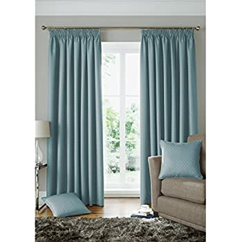 this item square geometric curtains woven duck egg blue lined pencil pleat curtain pair