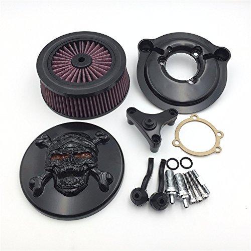 HTT schwarz Motorrad Skull Zombie mit Kreuz Knochen Luft sauberer Lufteinlass Filter System Kit für Harley Davidson 2007-later XL Sportster 1200Nightster 883XL883Low Xl1200L Seventy Zwei Vierzig Acht (V 8 Air Filter)