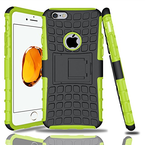 Apple iPhone 7Plus, Armor Case Tough Rugged Shock proof Armorbox Dual Layer Heavy Duty Carrying Hybrid Hard Slim Protective Case For iPhone 7 (with Kickstand) + 2in1 Touch Pen + Screen Protector-Pink Green