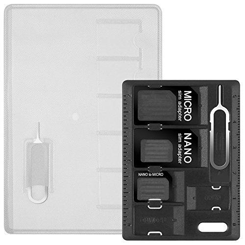 AFUNTA AdaptaDores para Tarjeta SIM y MicroSD con 2 Expulsar la Aguja, 2 Cajas de Almacenamiento para Tarjetas SD, con 3 adaptadores de Nano SIM a Micro SIM a SIM Normal, y 2 Aguja