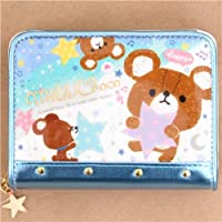 Q-Lia cute white metallic blue glitter wallet, with colorful stars and bears