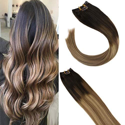 Sunny Echt Haar Clip in Extensions 18Zoll/45cm Dip Dyed #2 Dunkelbraun Ombre #6 mit #27 Blond Balayage Remy Glatt Clip in Haarverlangerung 7pcs 120g/set
