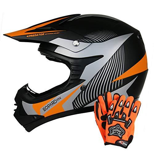 Leopard LEO-X19 {Kinder Motorrad Helm M(51-52cm) + Handschuhe M-6cm} Orange Kinder Motocrosshelme Mädchen Jungen Dirt Bike Fullface MX Helm (Kinder Motorrad-handschuhe)